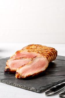 Close up view of roasted pork fillet