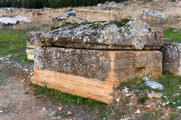 Close up view of sarcophagus in necropolis of hierapolis in turkey. selective focus