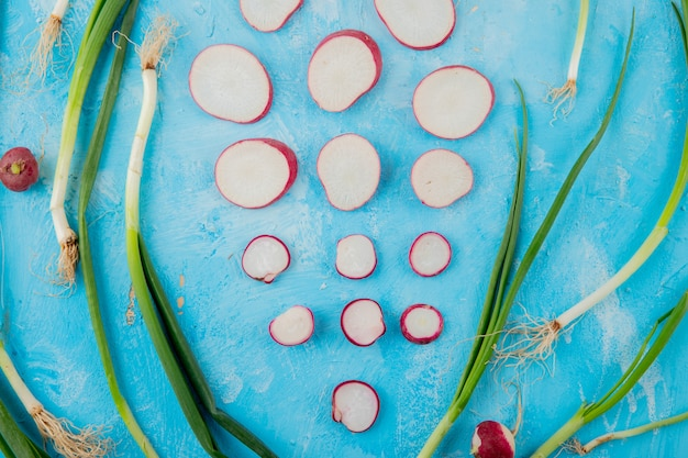 Close-up view of scallions with whole and sliced radishes on blue background