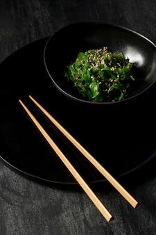 Close-up view of seaweed salad