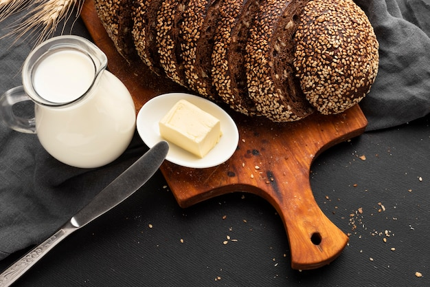 Close-up view of seed bread concept
