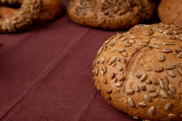 Close-up view of seeded cob on right side and burgundy background with copy space