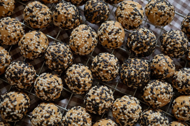 Close-up view of sesame seed rounded cookies