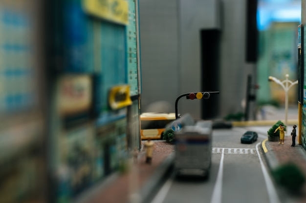 Close up view of a small traffic lights on the road.