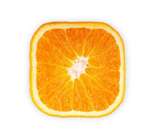 Close-up view square slice of orange