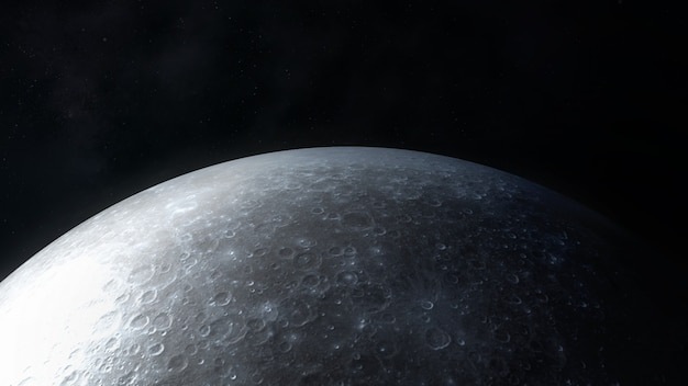 Close up view of the surface of the moon in dark gray colors.