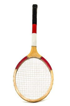 Close up view of a tennis racket isolated on a white background.