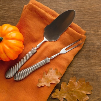 Close-up view of thanksgiving cutlery