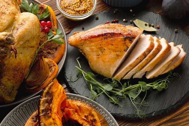 Close-up view of thanksgiving meal concept