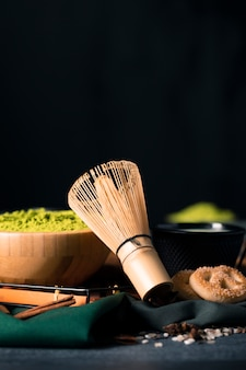 Close-up view of traditional matcha whisk