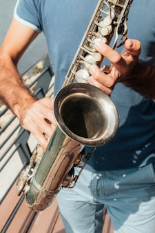 Close-up view of trumpet music concept