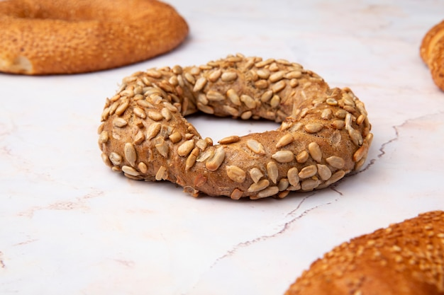 Close-up view of turkish bagel on white background
