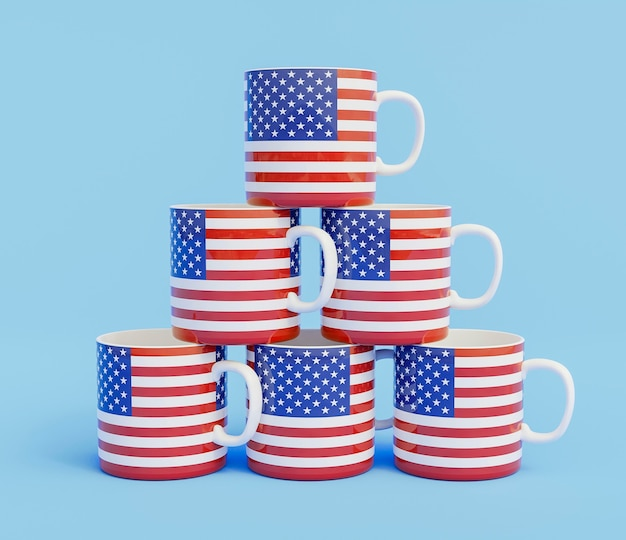 Close-up view of us elections cups arrangement