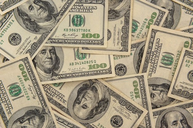 Close up view of us money banknote