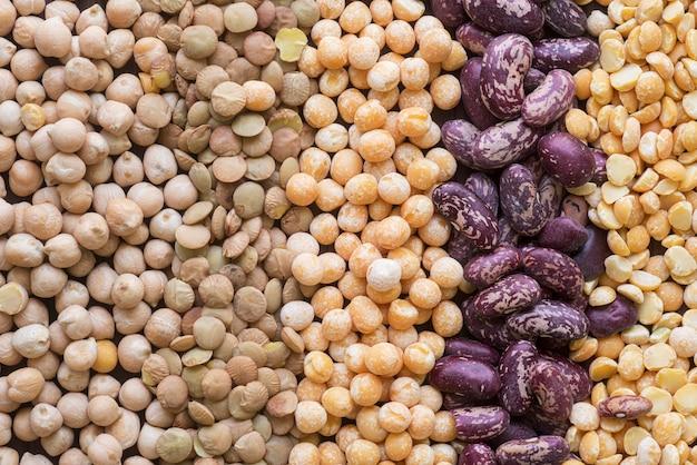 Close-up view of various beans arrangement
