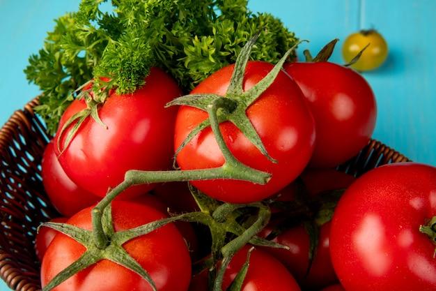 Vista del primo piano delle verdure come merce nel carrello del pomodoro e del coriandolo sulla superficie del blu