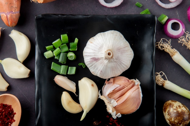 Close-up view of vegetables as garlic bulb and cloves cut scallion egg onion slice on maroon background