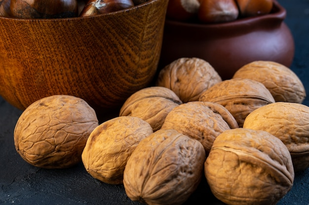 Close up view of walnuts on rustic