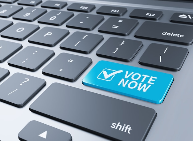 Close-up view on white conceptual keyboard - vote (blue key with check symbol).3d illustration