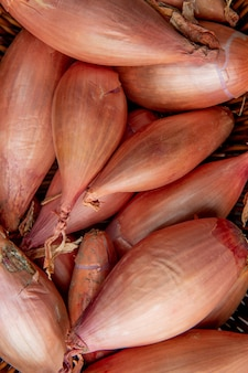 Close-up view of whole shallots