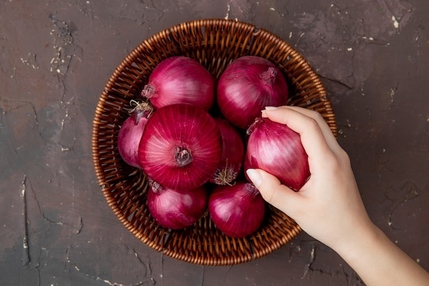 Close-up view of woman hand holding onion and basket of onions on maroon background with copy space