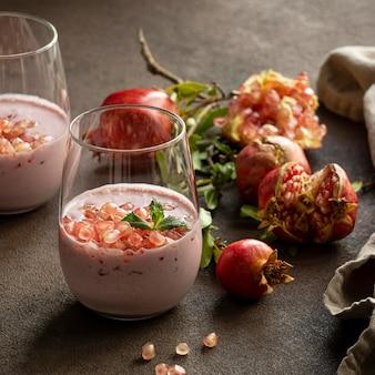 Close-up view of yogurt with pomegranate