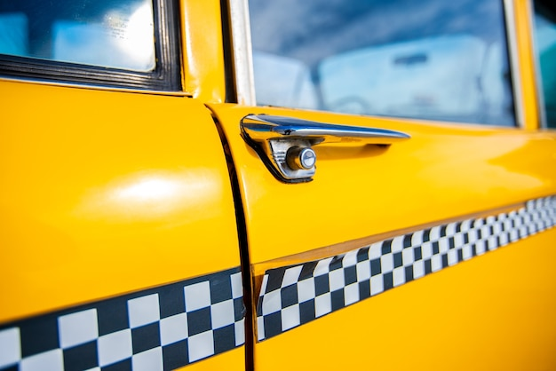 Close-up of vintage american taxi elements