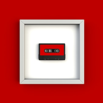 Close up of vintage audio tape cassette in picture frame