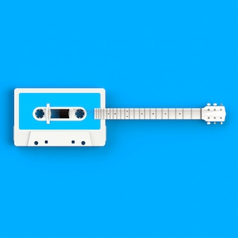Close up of vintage audio tape cassette with acoustic guitar concept illustration on blue background