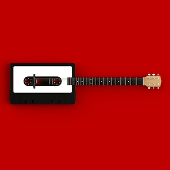 Close up of vintage audio tape cassette with acoustic guitar