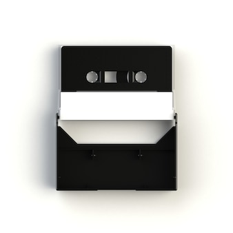 Close up of vintage audio tape cassette with cassette tape box