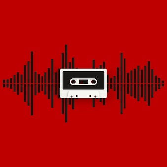 Close up of vintage audio tape cassette with sound waves concept illustration on red background
