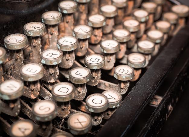 Close up of vintage fashioned typewriting machine.