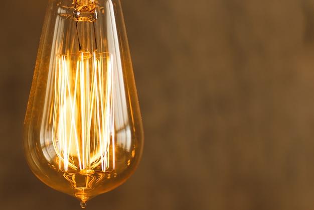 Close-up of vintage filament light bulb