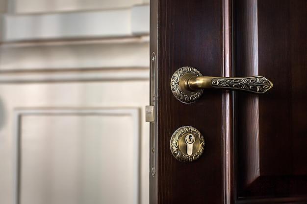 Close-up vintage handle on door