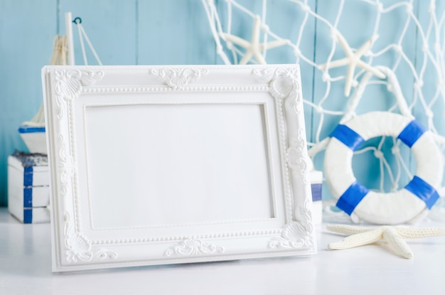 Close up of vintage picture frame with nautical theme