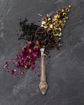 Close-up of vintage spoon with herbs