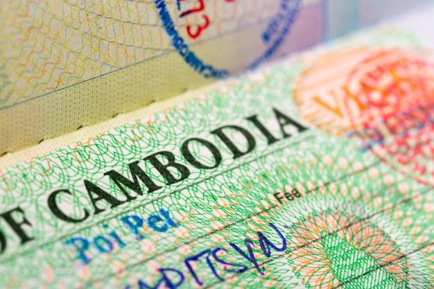 Close up of the visa of cambodia in passport