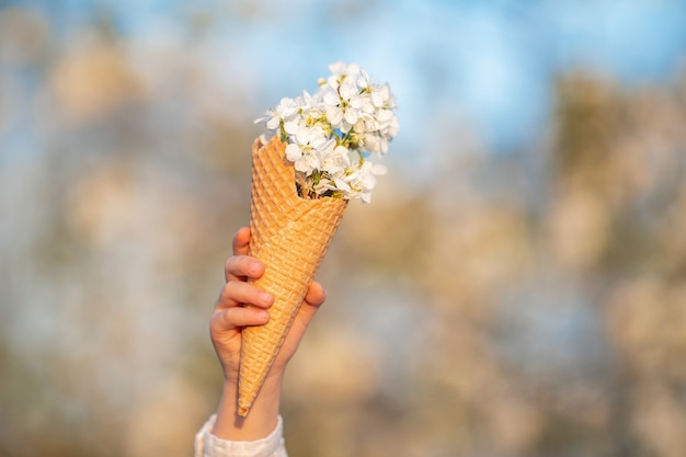 Close-up of waffle cone filled with cherry blossoms held by small child against