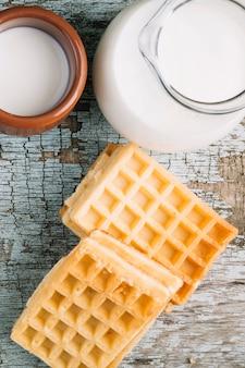 Close-up waffles and milk