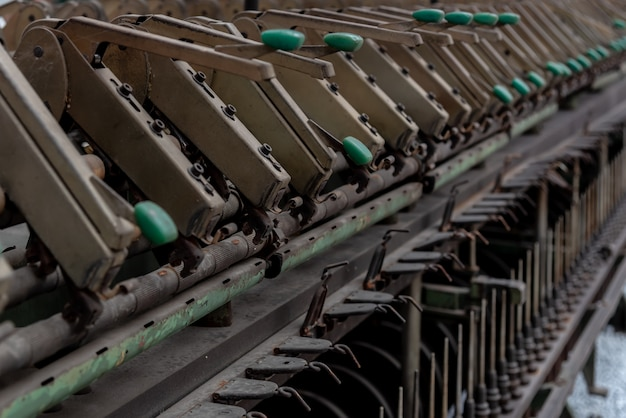 Close up of waste textile machinery structure