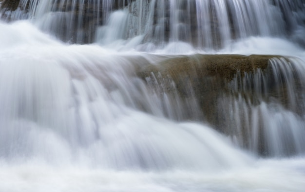 Close-up waterfall flowing on limestone