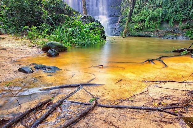 Close-up waterfall landscrape select focus