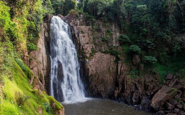 Close up of waterfall in sunny day at thailand