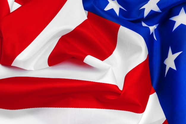Close-up of waving american flag