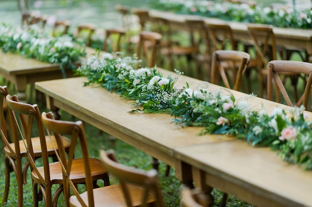 Close up on wedding chairs decoration