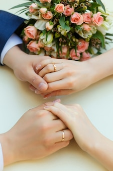 Close-up of wedding hands with rings