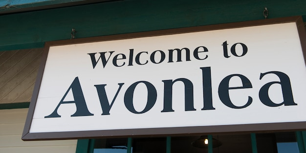 Close-up of welcome sign to avonlea, green gables, prince edward island, canada