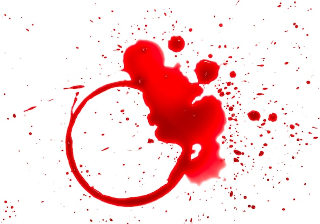 Close up wet stains of red wine glass or bottle, circle ring and blob drops isolated on white