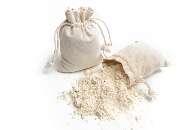 Close-up of wheat flour in a bag